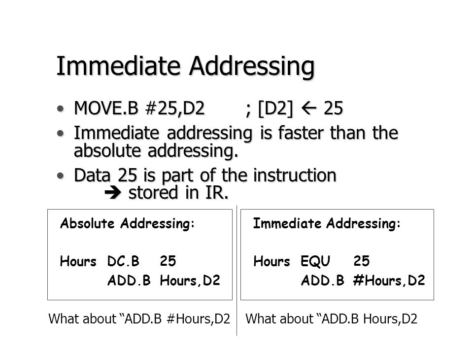 Immediate Addressing MOVE.B #25,D2 ; [D2]  25